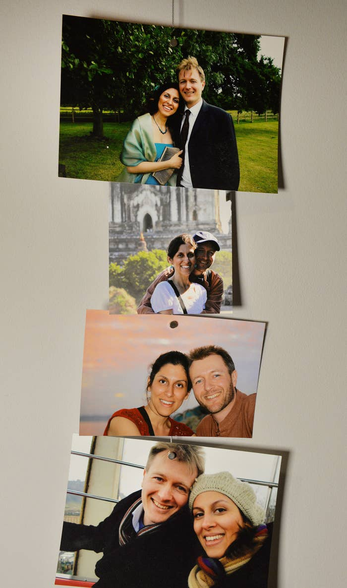 Photos of Richard Ratcliffe and Nazanin Zaghari-Ratcliffe up at their home in north London.