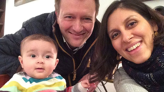 Richard Ratcliffe with his daughter, Gabriella, and wife, Nazanin Zaghari-Ratcliffe.