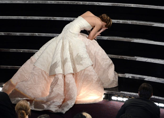 Jennifer Lawrence always keeps it both relatable and delightful at the Oscars. Remember when she won Best Actress in 2013 and then bit it? So delightful, so relatable.