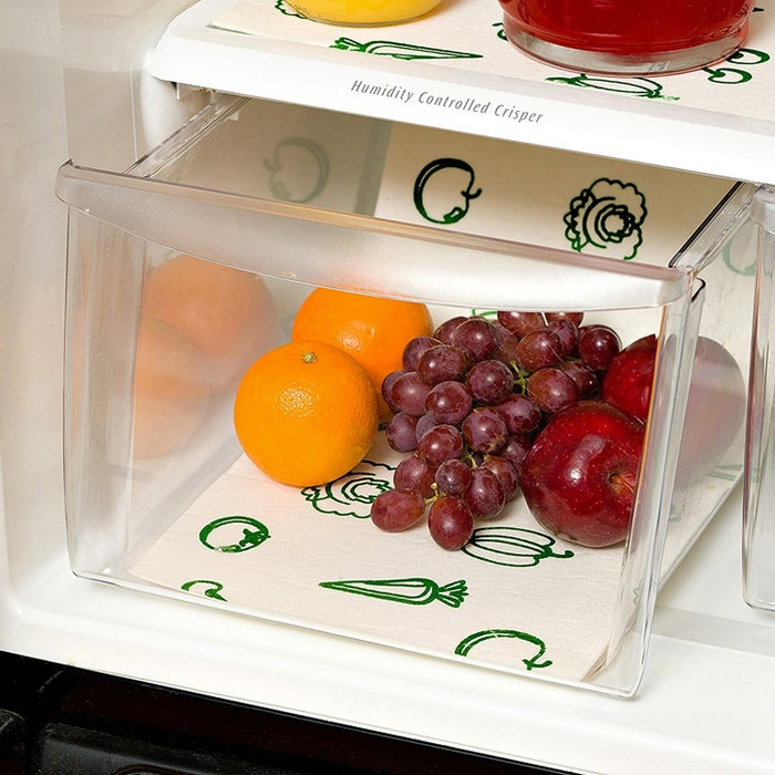 """These liners can be trimmed to fit and are machine washable! Promising review: """"Bought a new refrigerator, so I thought I would do it right. Great product — lets the air get under the fruit/veggies and keeps them fresh longer and keeps the drawers cleaner, too."""" —M. KoppGet a three-pack from Amazon for $3.99.Find out more ways to make your food last longer!"""