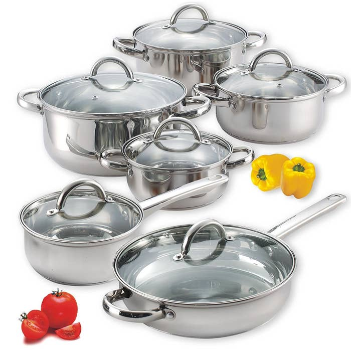 "Includes: 1.5-quart saucepan, 1.5-, 2-, and 3-quart casserole pans, 5.5-quart. stockpot, and a 10-inch fry pan, all with lids (12 pieces total).Promising review: ""I absolutely love these pans! I did tons and tons of research on all kinds of pan types. I really wanted to get away from the Teflon type of coated pan — it always ends up chipping eventually, no matter how careful you are — and it goes right into your food! I had almost settled on cast iron but the cost is prodigious and I really didn't like the idea of a pan that couldn't really be washed. So I researched stainless steel, and came upon this lovely set. I was very surprised by how strong they were right out of the box, not a flimsy set of metal pans for sure. They also have a very well-made aluminum-clad bottom — amazing! The lids are well put together, as are the pans, and the lids fit nice and tight."" —LJGet it from Amazon for $51.13."