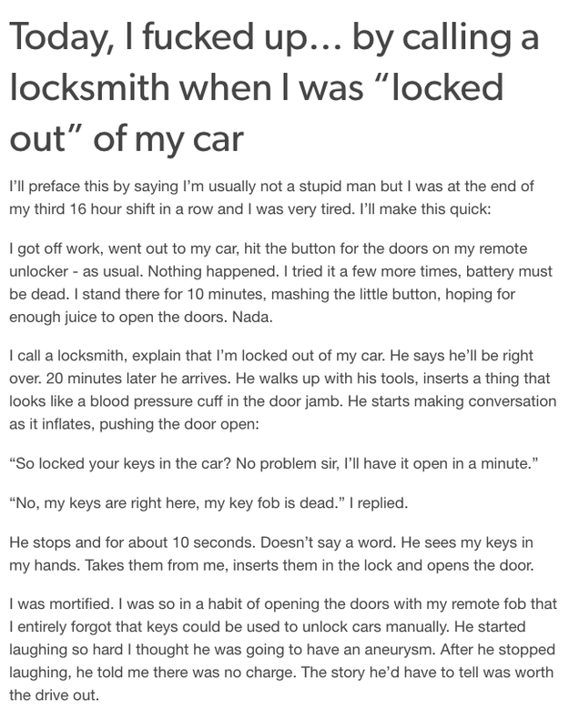 The one about getting locked out: