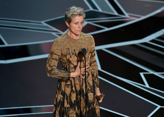 Frances McDormand onstage, after winning the Oscar for Best Actress, during the 90th Annual Academy Awards on March 4.