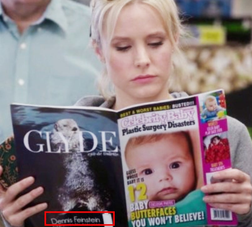 Also in The Good Place, you can see a Dennis Feinstein perfume ad, another nod to Parks and Rec.
