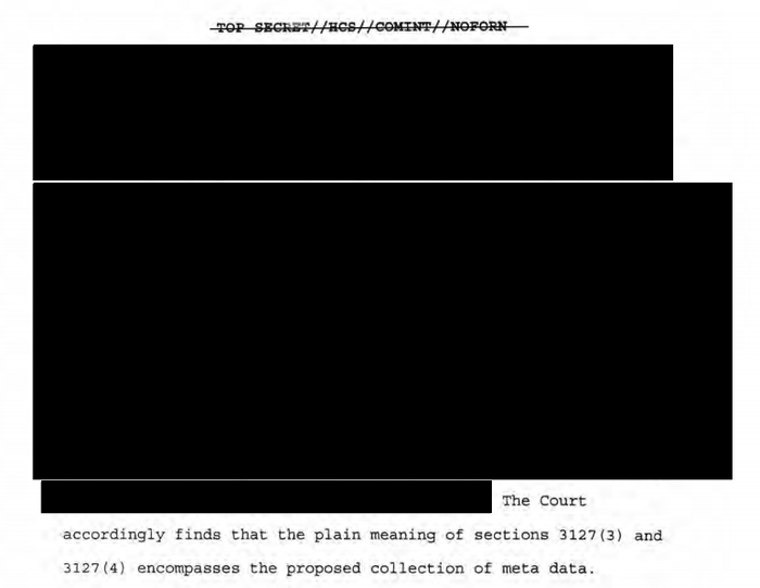 First Amendment advocates are seeking access to redacted opinions from the Foreign Intelligence Surveillance Court. Above, one of the opinions at issue.