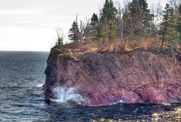 This giant rock in Tettegouche State Park, Minnesota that looks like a medium rare steak waiting to be dipped in A1 sauce.
