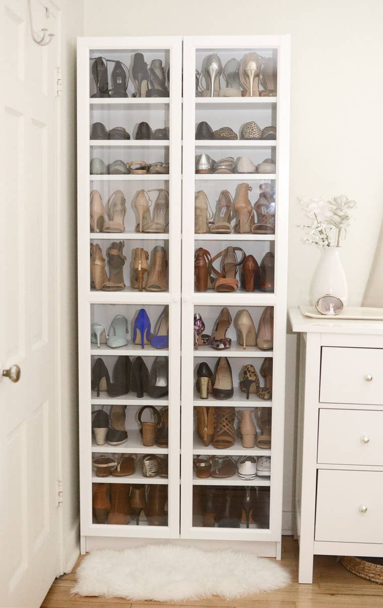 If you have pets, or mischievous children in the house, this is the best solution. Wellesley and King have more tips to organize your shoes here.