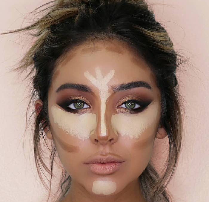If you're just starting out, or are not great at makeup yet, and you want to try and start contouring, put the contour color on a brush or sponge first.