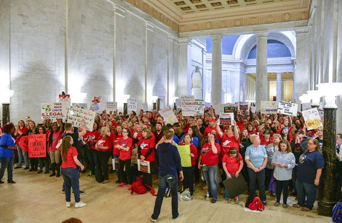 Teachers hold a rally outside the Senate Chambers in the West Virginia Capitol on March 5 in Charleston, West Virginia.