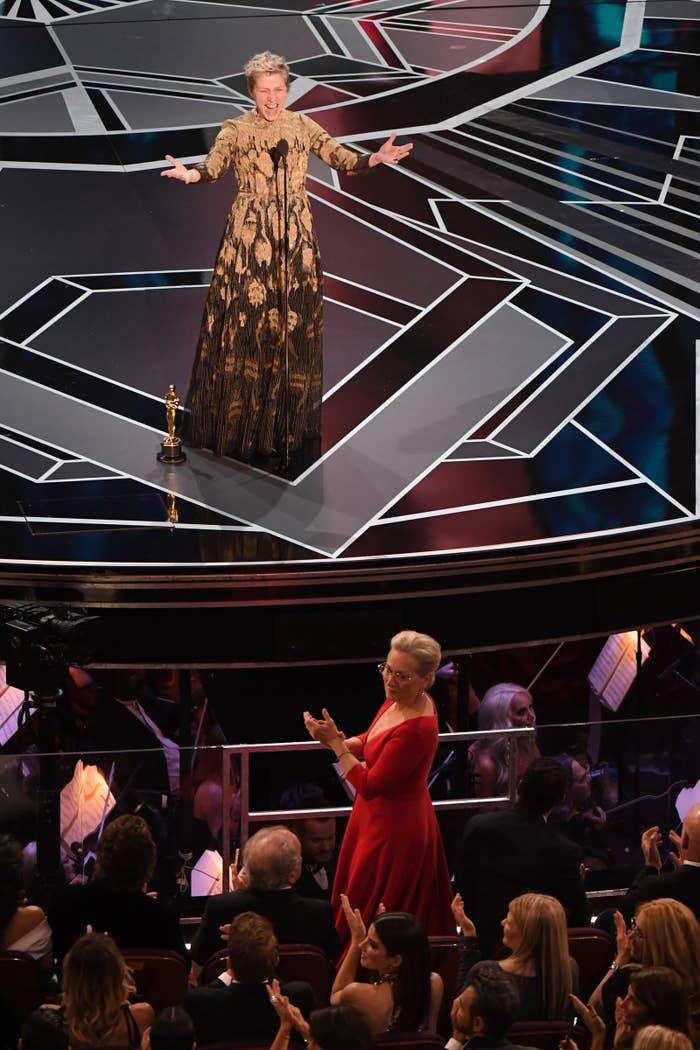 Frances McDormand at the 90th Annual Academy Awards.