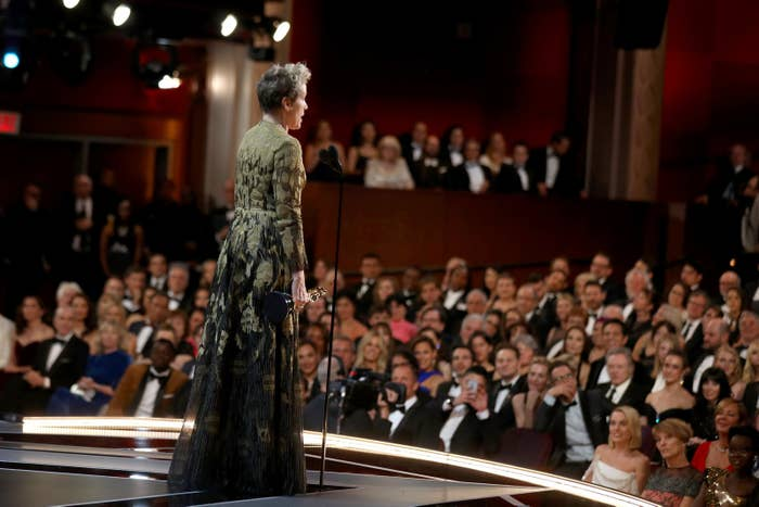 Frances McDormand accepts the Oscar for Best Actress at the 90th Annual Academy Awards.