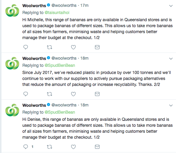 And now the Woolworths' Twitter account is in slight damage control.