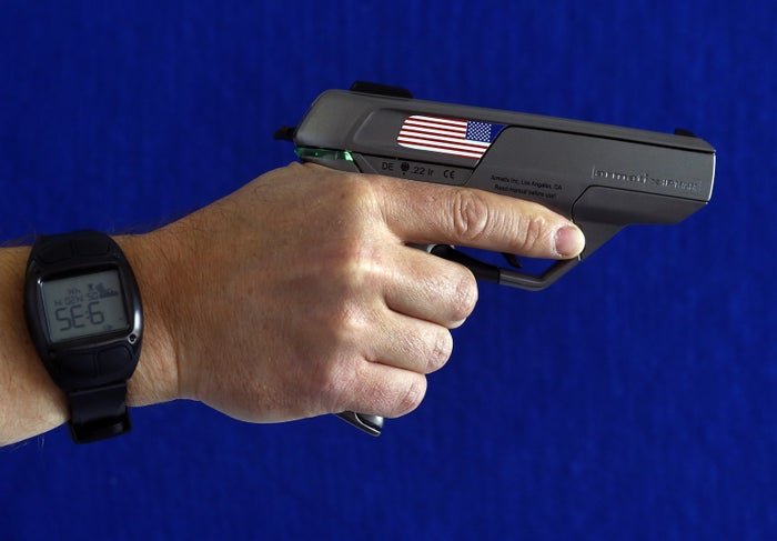 An Armatix smart gun, which is implanted with an electronic chip that allows it to be fired only if the shooter is wearing a watch that communicates with it through a radio signal.