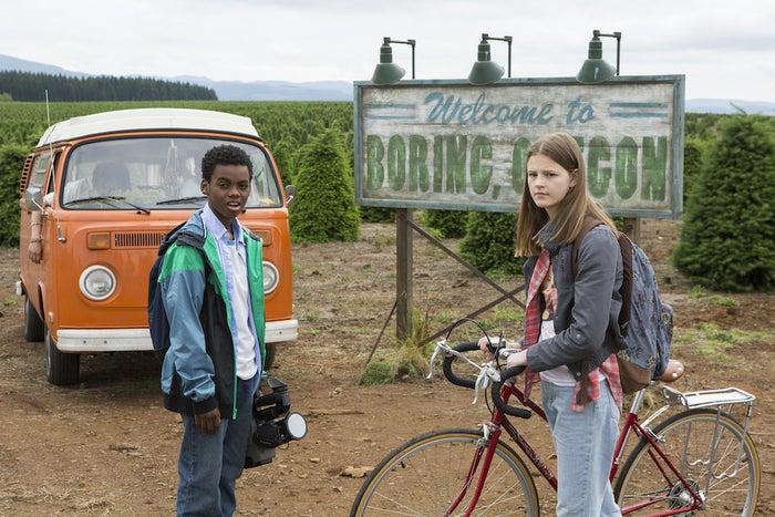 Luke (Jahi Di'Allo Winston) and Kate (Peyton Kennedy) in their hometown of Boring, Oregon.