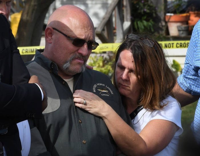 Pastor Frank Pomeroy and his wife Sherri join a news conference near the First Baptist Church of Sutherland Springs on Nov. 6, 2017.