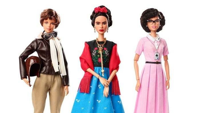 From left to right: Amelia Earhart (American aviation pioneer), Frida Kahlo (renowned Mexican artist), and Katherine Johnson (influential NASA mathematician).
