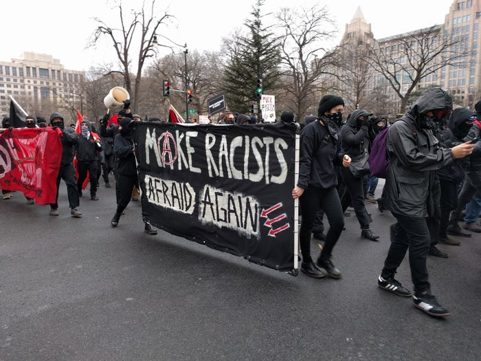 Protesters march through downtown Washington, DC, on Jan. 20, 2017.