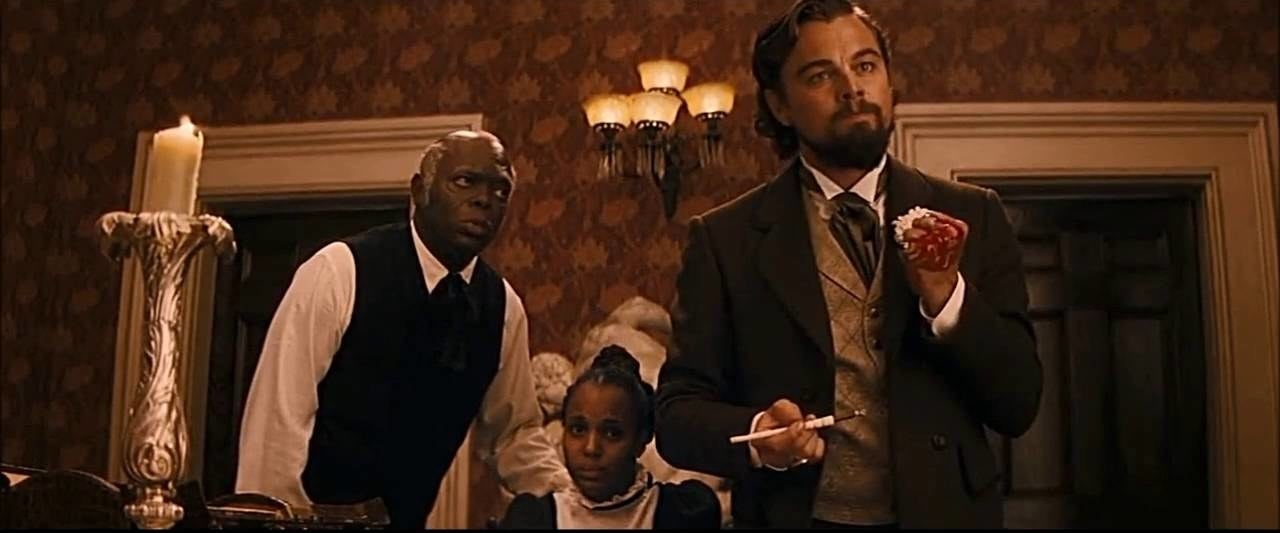"In Django Unchained, Leonardo DiCaprio cut his hand when he slammed it on a table and accidentally smashed a glass. He continued the scene. ""My hand started really pouring blood all over the table,"" said DiCaprio."