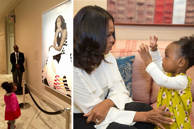 Michelle Obama Met (And Danced) With The Little Girl Who Was Mesmerized By Her Portrait
