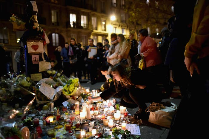 Candles and tributes outside the Bataclan concert hall.