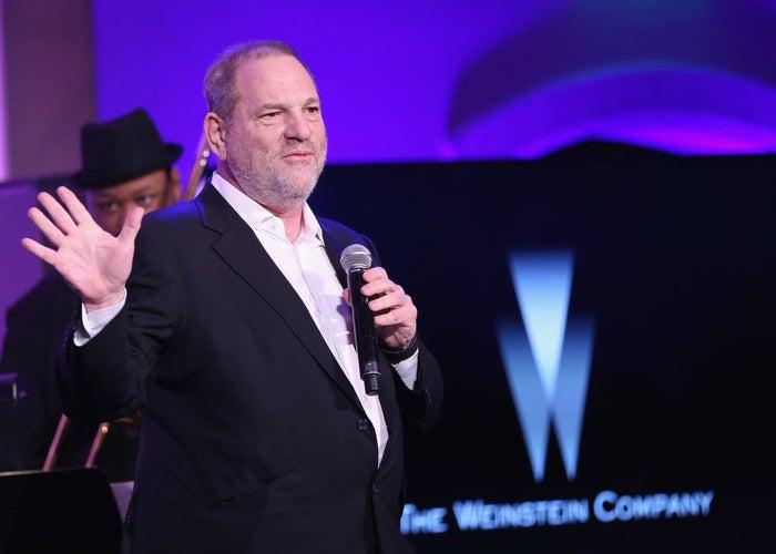 Harvey Weinstein speaks onstage at the Weinstein Company's pre-Oscar dinner in 2017.