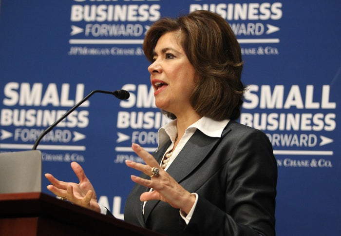 Maria Contreras-Sweet speaks at a roundtable discussion in 2014 as the administrator of the Small Business Administration.