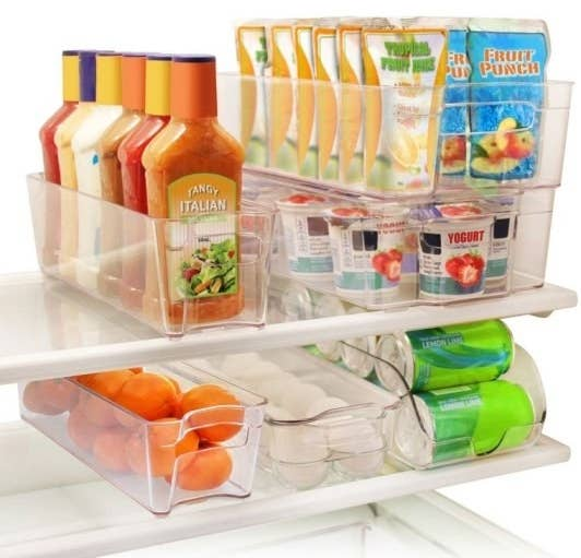 Set includes one egg holder, one drink can holder, two wide trays, and two narrow trays. Get them from Walmart for $34.99.