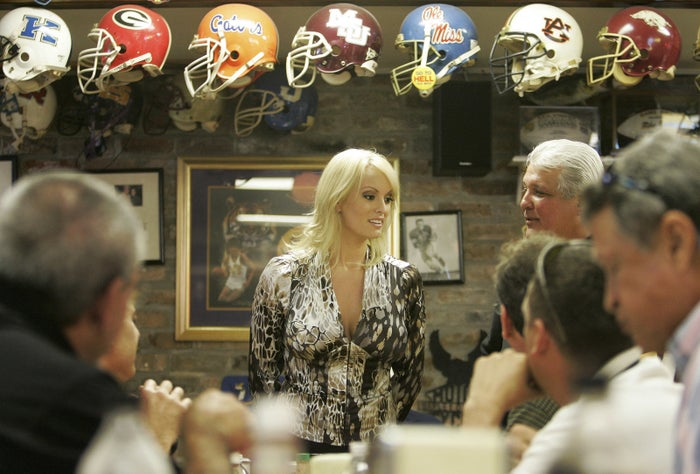 Stephanie Clifford, who performs as Stormy Daniels, visits a restaurant in downtown New Orleans, on Wednesday, May 6, 2009.