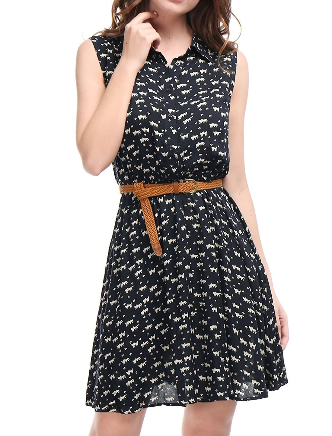fe092887f5 An aww-worthy belted number printed with little kitties and pawsitively  bursting with cattitude.