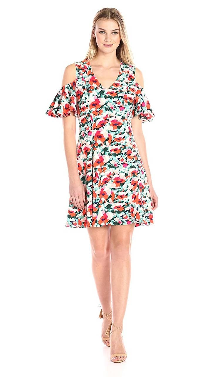 A Blooming Party Dress Thats Machine Washable Because Practicality Is One Thing It Doesnt Give The Cold Shoulder