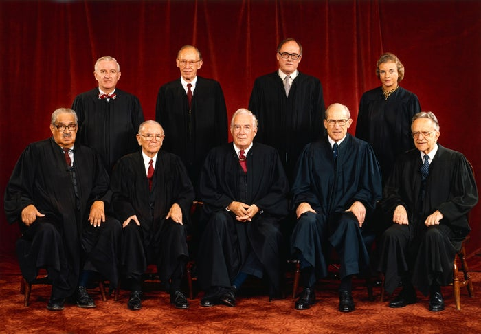 The Supreme Court on Jan. 25, 1982. The justices are (front row, from left) Thurgood Marshall, William J. Brennan Jr., Chief Justice Warren Burger, Byron R. White, and Harry A. Blackmun, (back row, from left) John Paul Stevens, Lewis F. Powell Jr., William H. Rehnquist, and Sandra Day O'Connor.