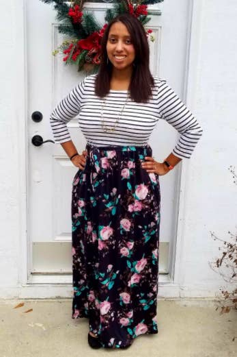 d2d09ae0e5 A trendy stripe and floral maxi that does all the print mixing work so you  don't have to. You're welcome.