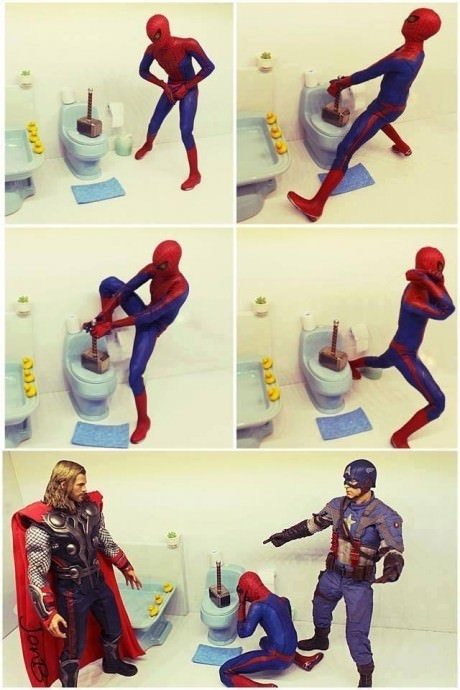 Poor Peter definitely got pranked by Thor exactly like this: