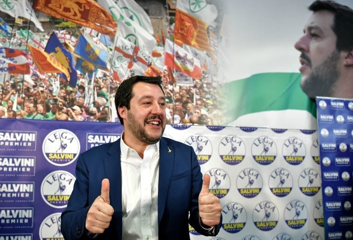 Lega leader Matteo Salvini during a press conference held at the Lega headquarters in Milan on 5 March