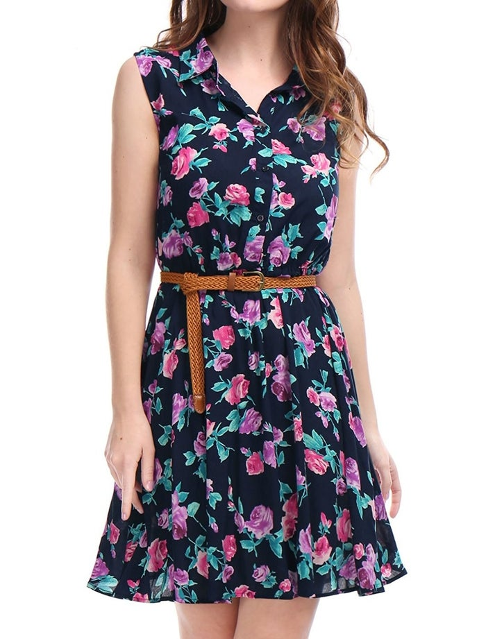 "Promising review: ""I love this dress. It's super lightweight and perfect for warm weather. It can be dressed up or down. I'm 5'8"" 150 lbs., 36D and the large fit great with a little room to spare. The belt really ties it together. I also plan to pair it with other belts for different looks. I'm very happy with this purchase."" —Kindle Customer Price: $12.99+ (available in seven colors/patterns, sizes XS–XL)"
