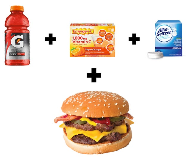 Some Gatorade, Emergen-C, and Alka-Seltzer. Oh, and a double bacon cheeseburger.