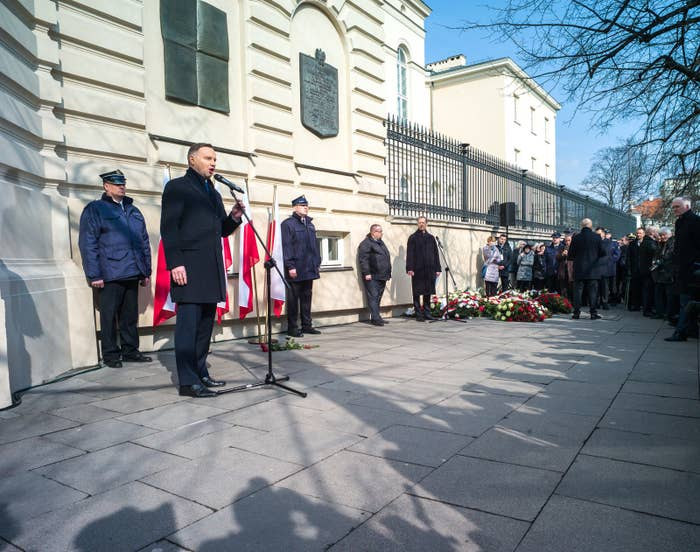 Andrzej Duda speaks at the ceremony marking the 50th anniversary of the protests.