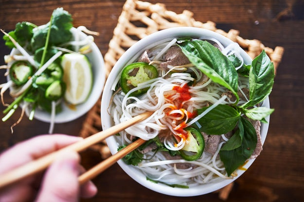 A hot bowl of pho.