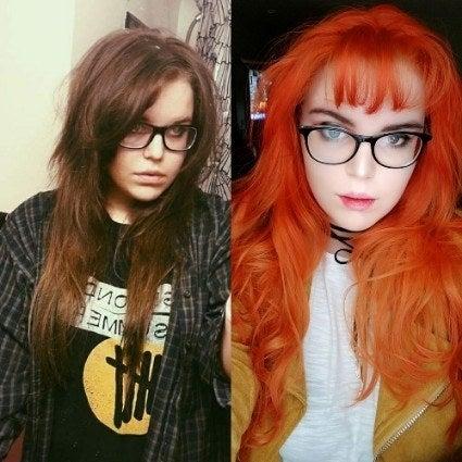 「正直、自分の地毛にうんざりしてたの。茶色くて地味だし。だから、ちょっと思い切って赤毛にしてみた!その後前髪も作って、今は赤っていうよりオレンジ色にしてる。髪の色を変えただけで、こんなにも自分に自信が持てるなんて思ってもみなかった!80歳のおばあちゃんになっても、髪はオレンジのままにしたいと思ってる!」—taranoell