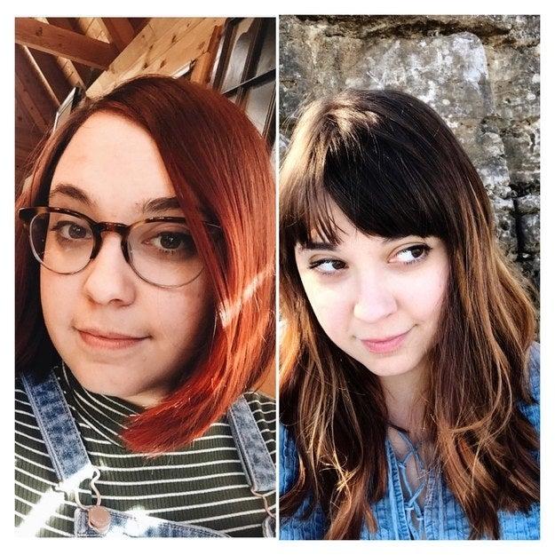 「この長さにするまで1年もかかったけど(一度、間違えて緑色に染めちゃったこともあったの!)、すごく自分にしっくりきて気に入ってる。ついでに、前髪も作ってみた!」 —katyvf