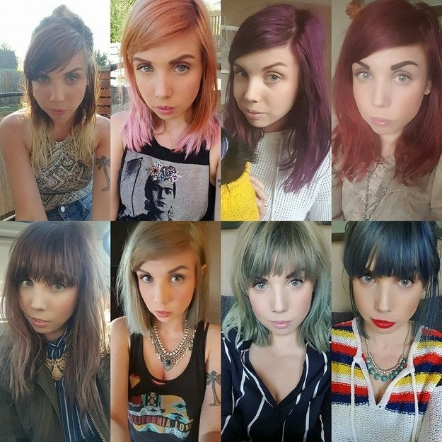 """I've been coloring my hair since I was 15 and I'm 33 now. All these pictures were taken within a year!"" —calliejofunkh"