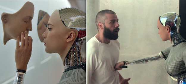 In Ex Machina, when Ava trapped Caleb in the house and then escaped via the helicopter that was sent for him.