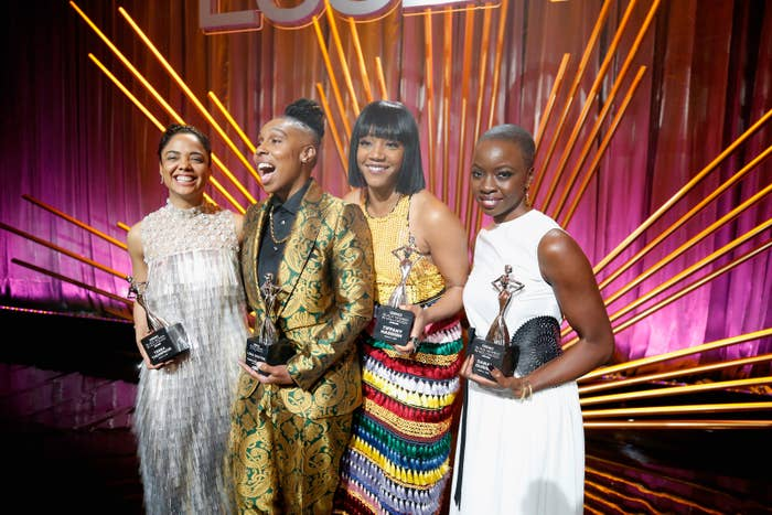 From left: Honorees Tessa Thompson, Lena Waithe, Tiffany Haddish, and Danai Gurira onstage during the 2018 Essence Black Women in Hollywood Oscars Luncheon in Beverly Hills.