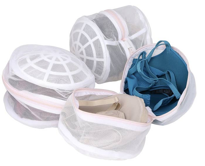I have a couple of Target bras that love and wear 90% of the time, and there's no way I hand-wash those. They get a bra bag — you can either wash one bra per bag so the cups lays face-down on the plastic protectors, or you can put two bras in one bag, inverting one of the cups.Get a set of three reinforced bags on Amazon for $12.45.