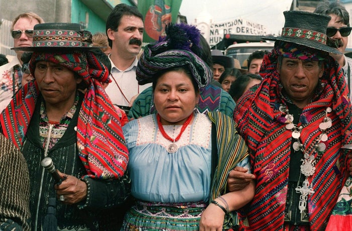 Rigoberta Menchú is Guatemalan human rights activist. She won the Nobel Peace Prize in 1992 for her fight to defend indigenous and human rights in her country.