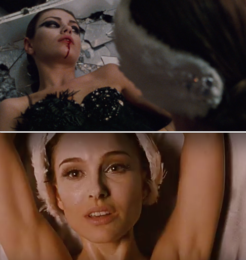 In Black Swan, when Nina thought she killed Lily, but later realized on stage that she actually stabbed herself.