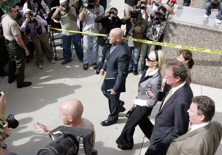 Hilton leaves court after being sentenced to 45 days in jail for violating probation.