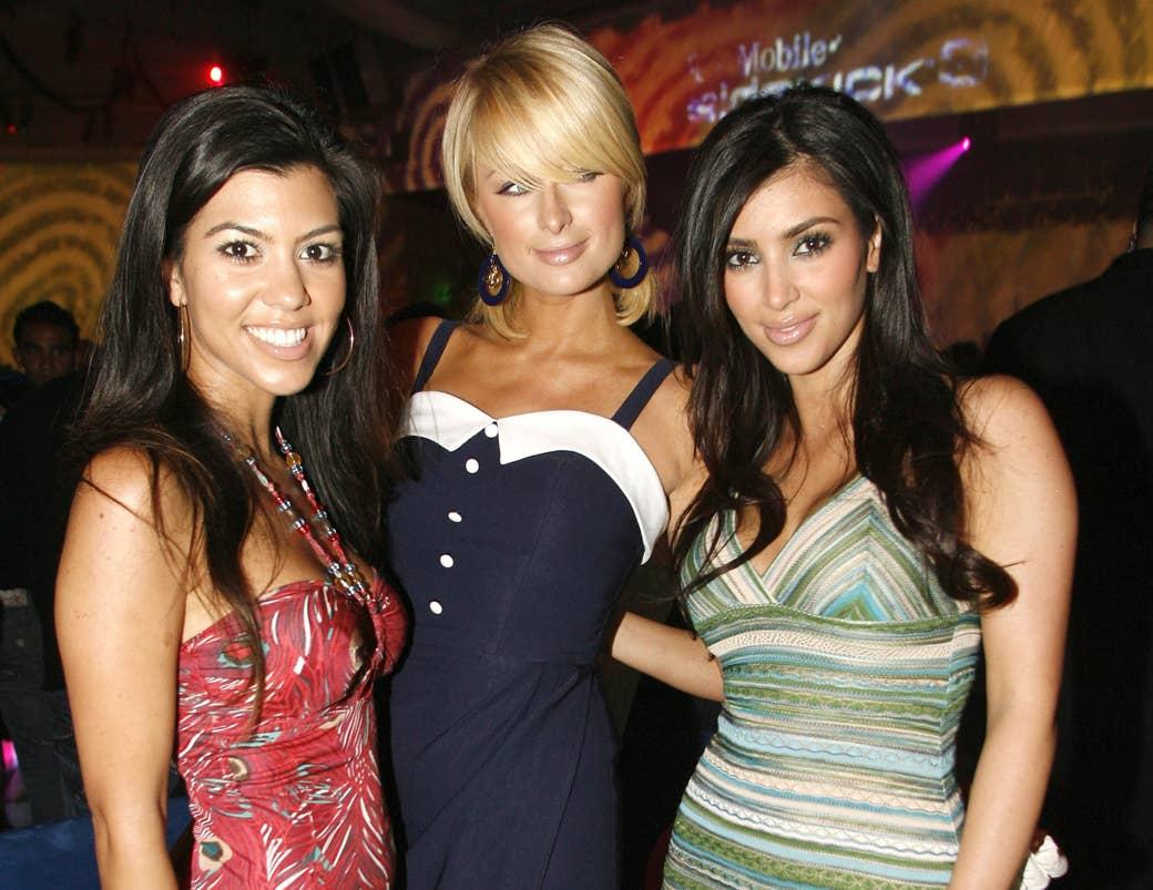 Kourtney Kardashian, Hilton, and Kim Kardashian in 2006.