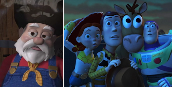 In Toy Story 2, when Stinky Pete turned out to be the villain and tried to prevent Woody from escaping.