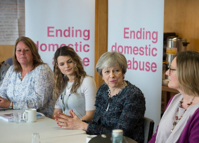 Theresa May visits a training session for independent domestic violence advisers in east London on 8 March.